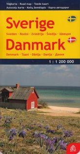 Szwecja Dania mapa 1:1 200 000