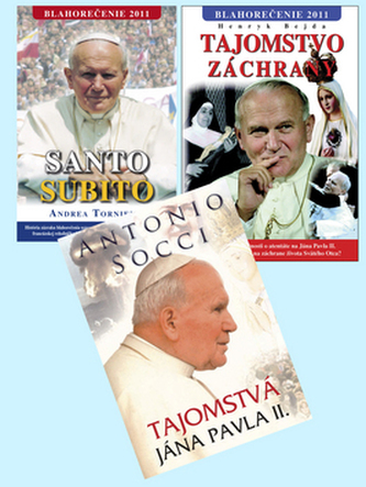 Balíček 3 ks Tajomstvá Jána Pavla Santo Subito Blahorečenie Tajomstvo záchrany