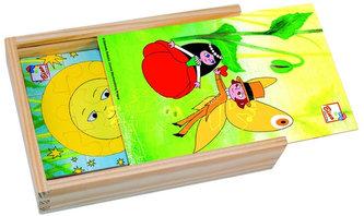 Maková panenka – 4 puzzle v dřevěné krabičce