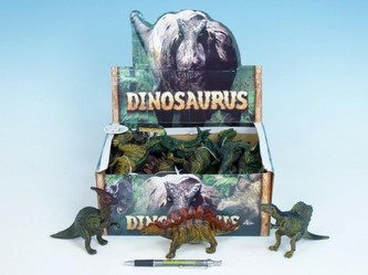 Dinosaurus 15cm plast kovová barva 12 druhů 24ks v boxu