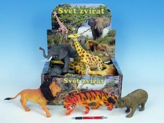 Zvířátka safari 23-30cm 6druhů 12ks v DBX