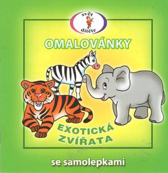 Exotická zvířata - Omalovánky se samolepkami A5
