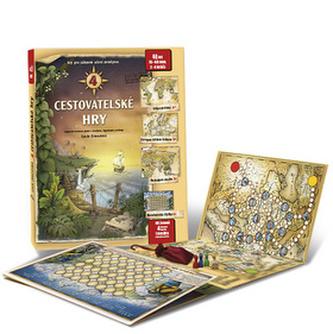 4 cesovatelské hry - Leporelo her s kostkou, figurkami a žetony, pro zábavné učení zeměpisu
