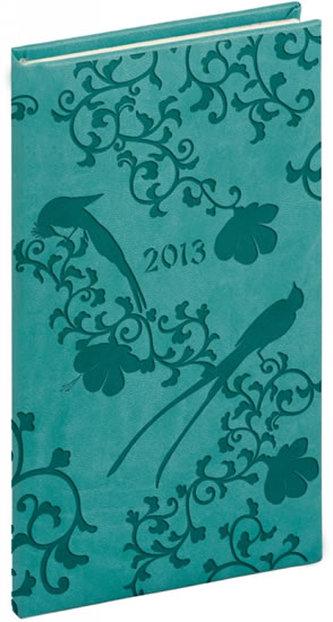 Diář 2013 - Tucson-Vivella - Kapesní, tyrkysová, ptáci, 9 x 15,5 cm