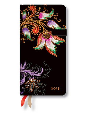 Diář 2013 - Floral Cascade Ebony - 12 měsíční, slim 90x180 Horizontal