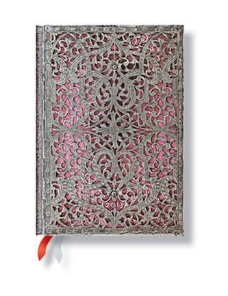 Diář 2013 - Silver Filigree Blush Pink - 12 měsíční, midi 130x180 Horizontal