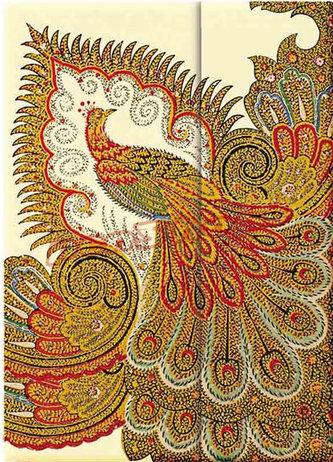 Zápisník - Swirling Peacock – Ivory Wrap, midi 120x170