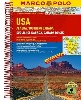 Marco Polo Reiseatlas USA, Alaska, Südliches Kanada. USA, Alaska, Southern Canada. USA, Alaska, Canada du Sud