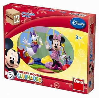 Dřevěné kostky 12 ks - Mickeyho klubík