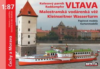 Kolesový parník Vltava a Malostranská vodárenská věž