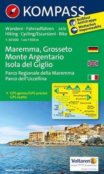Kompass Karte Maremma - Grosseto - Monte Argentario - Isola del Giglio - Parco Regionale della Maremma - Parco dell' Uccellina