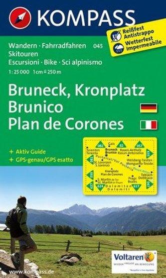 Kompass Karte Bruneck, Kronplatz. Brunico, Plan de Corones