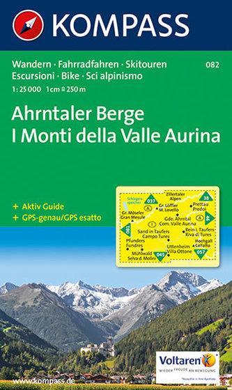 Kompass Karte Ahrntaler Berge. I Monti di Valle Aurina