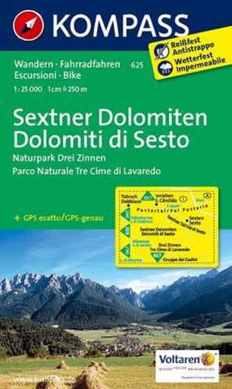 Kompass Karte Sextner Dolomiten (1 : 25.000). Dolomiti di Sesto (1 : 25.000)
