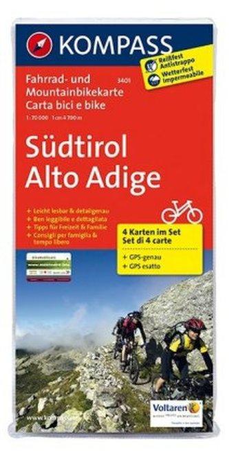 Kompass Fahrradkarte Südtirol. Alto Adige, 4 Bl.
