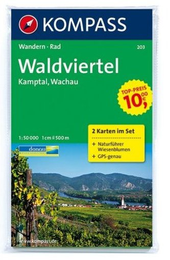 Kompass Karte Waldviertel, Kamptal, Wachau, 2 Bl. m. Kompass Naturführer Wiesenblumen