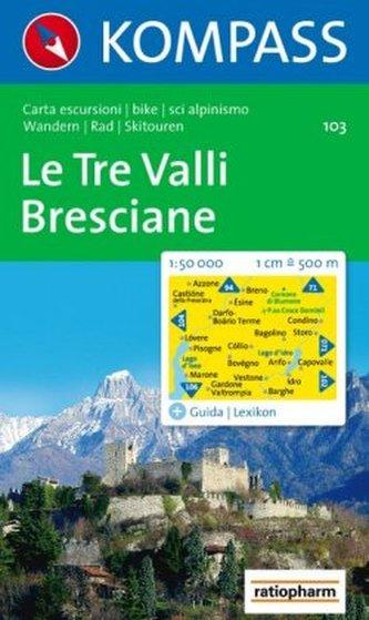 Kompass Karte Le Tre Valli, Bresciane
