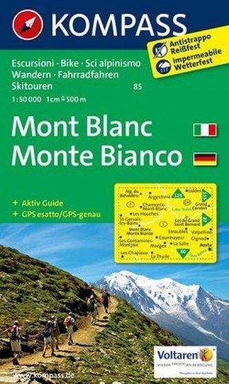 Kompass Karte Mont Blanc. Monte Bianco