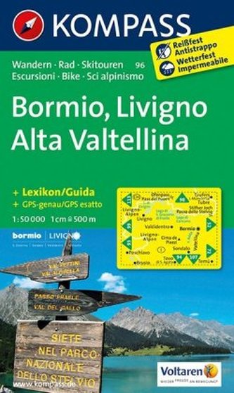 Kompass Karte Bormio, Livigno, Alta Valtellina