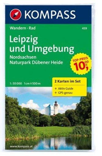 Kompass Karte Leipzig und Umgebung, Nordsachsen, Naturpark Dübener Heide, 2 Bl.