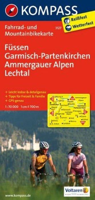 Kompass Fahrradkarte Füssen, Garmisch-Partenkirchen, Ammergauer Alpen, Lechtal