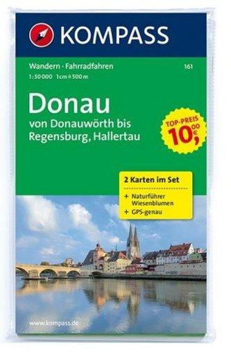 Kompass Karte Donau - von Donauwörth bis Regensburg, Hallertau, 2 Bl. m. Kompass Naturführer Wiesenblumen