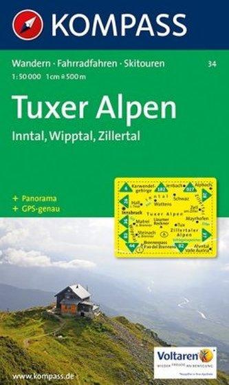 Kompass Karte Tuxer Alpen, Inntal, Wipptal, Zillertal