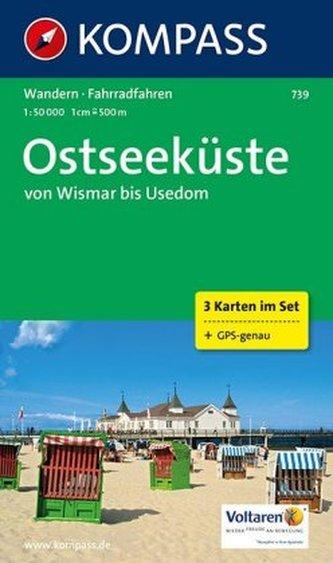 Kompass Karte Ostseeküste von Wismar bis Usedom, 3 Bl. m. Kompass Naturführer Küstenvögel an Nord- und Ostsee