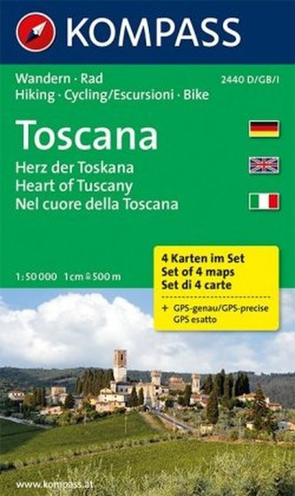 Kompass Karte Toscana - Herz der Toskana, 4 Bl.. Toscana - Heart of Tuscany. Toscana - Nel cuore della Toscana