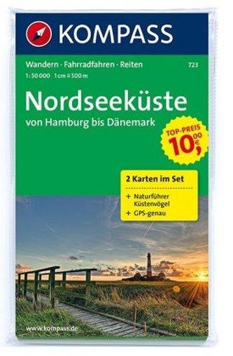 Kompass Karte Nordseeküste von Hamburg bis Dänemark, 2 Bl.