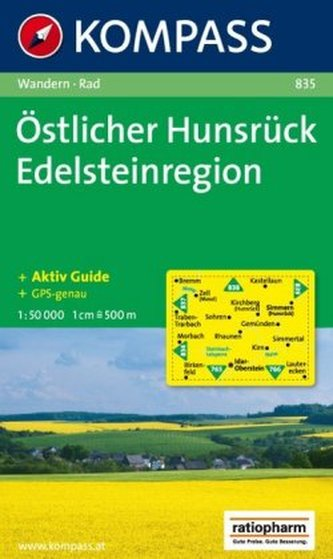 Östlicher Hunsrück Edelsteinregion 835 / 1:50T NKOM