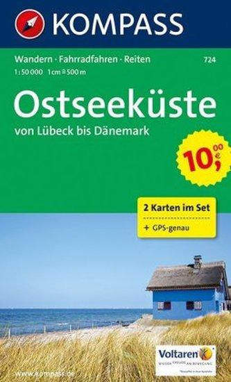 Kompass Karte Ostseeküste von Lübeck bis Dänemark, 2 Bl.