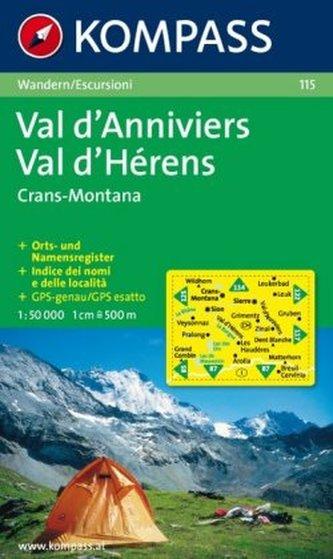Kompass Karte Val d' Anniviers, Montana, Val d' Hérens, Crans-Montana