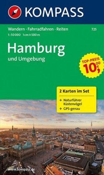 Kompass Karte Hamburg und Umgebung, 2 Bl. m. Kompass Naturführer Küstenvögel an Nord- und Ostsee