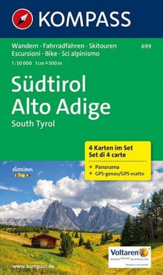 Kompass Karte Südtirol, 4 Bl.. Alto Adige / South Tyrol