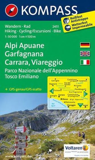 Alpi Apuane,Garfagnana,Carrara,Viareggio 2451 / 1:50T NKOM