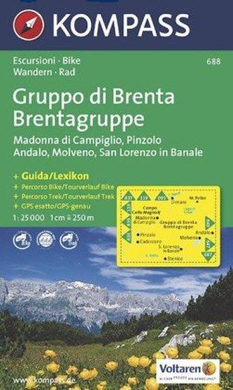 Kompass Karte Brentagruppe. Gruppo di Brenta