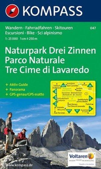Kompass Karte Naturpark Drei Zinnen. Parco Naturale Tre Cime de Lavaredo