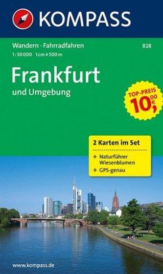 Kompass Karte Frankfurt und Umgebung, 2 Bl. m. Kompass Naturführer Wiesenblumen