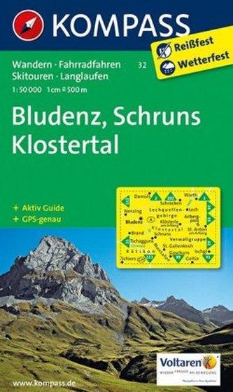 Kompass Karte Bludenz, Schruns, Klostertal