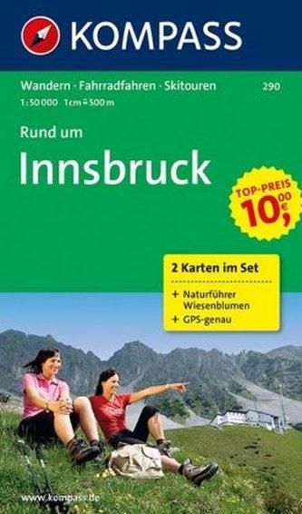 Kompass Karte Rund um Innsbruck, 2 Bl. m. Kompass Naturführer Wiesenblumen