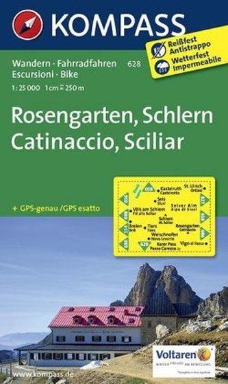 Kompass Karte Rosengarten, Schlern. Catinaccio, Sciliar