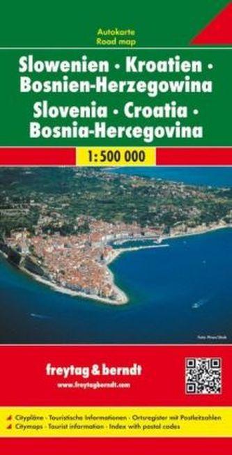 Freytag & Berndt Autokarte Slowenien, Kroatien, Bosnien-Herzegowina. Eslovenia, Croacia, Bosnia-Erzegovina. Slovenie, Croatie, B