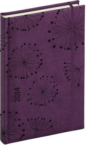 Diář 2014 - Tucson-Vivella speciál - Denní B6, tmavě fialová, květiny