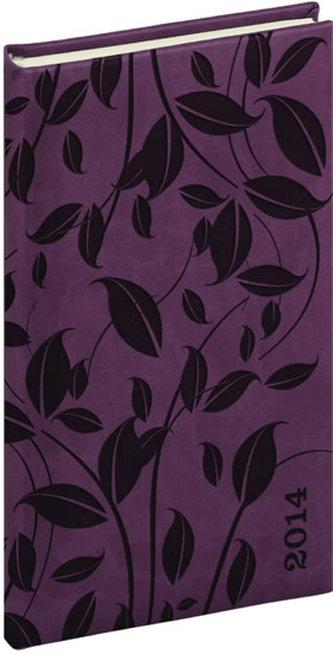 Diář 2014 -Tucson-Vivella speciál - Kapesní, tmavě fialová, lístky