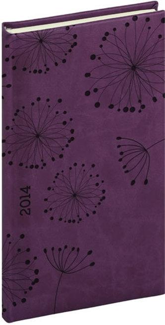 Diář 2014 -Tucson-Vivella speciál - Kapesní, tmavě fialová, květiny