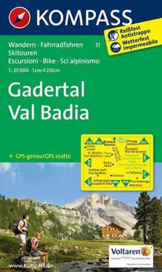 Kompass Karte Gadertal. Val Badia