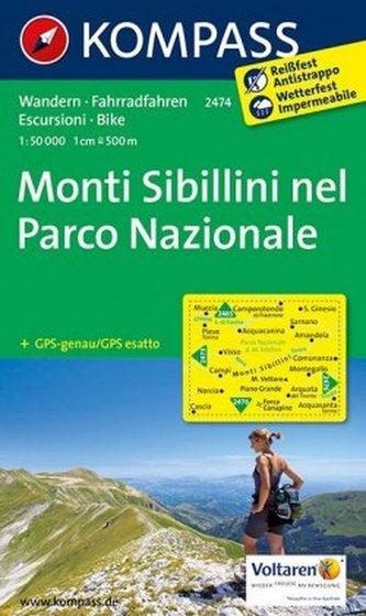Kompass Karte Monti Sibillini nel Parco Nazionale
