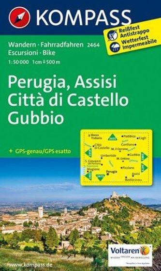 Kompass Karte Perugia, Assisi, Città di Castello, Gubbio