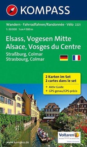 Kompass Karte Elsass, Vogesen Mitte, 2 Bl.. Alsace, Vosges du Centre